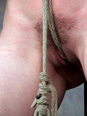 Wife's hairy pussy with crotch rope