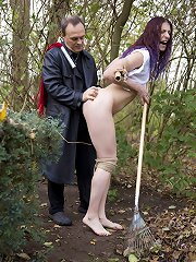 Slut girl punished and dominted outdoor